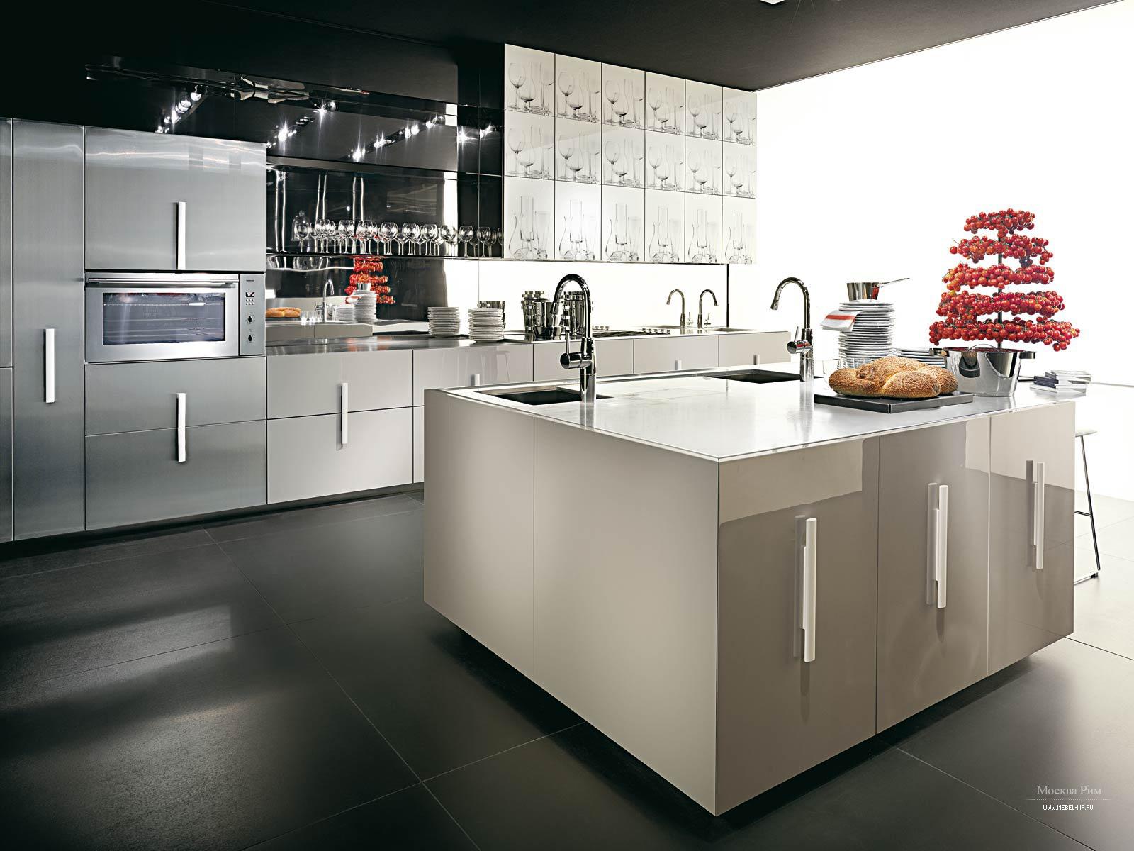 Кухонный гарнитур из массива дерева с островом Etna, Rossana - Мебель МР