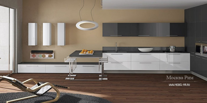 Кухня (гарнитур для кухни) Arrital Cucine, Light GLOSSY WHITE AND METALLIC GREY