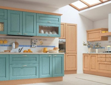 Кухня (гарнитур для кухни) Arrital Cucine, Epoca NATURAL ASH AND TURQUOISE DECAPE