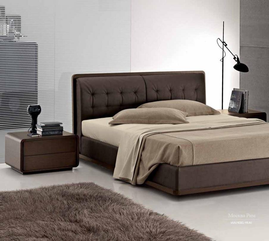 двуспальная кровать с мягким изголовьем Zanette мебель мр