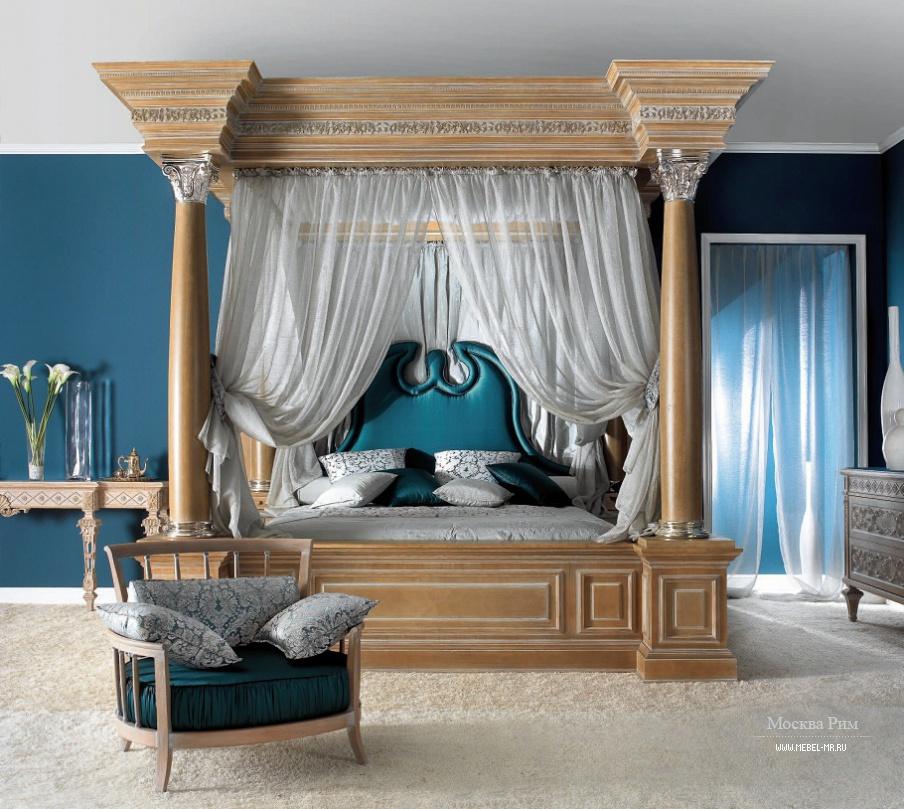 кровать подиум с балдахином