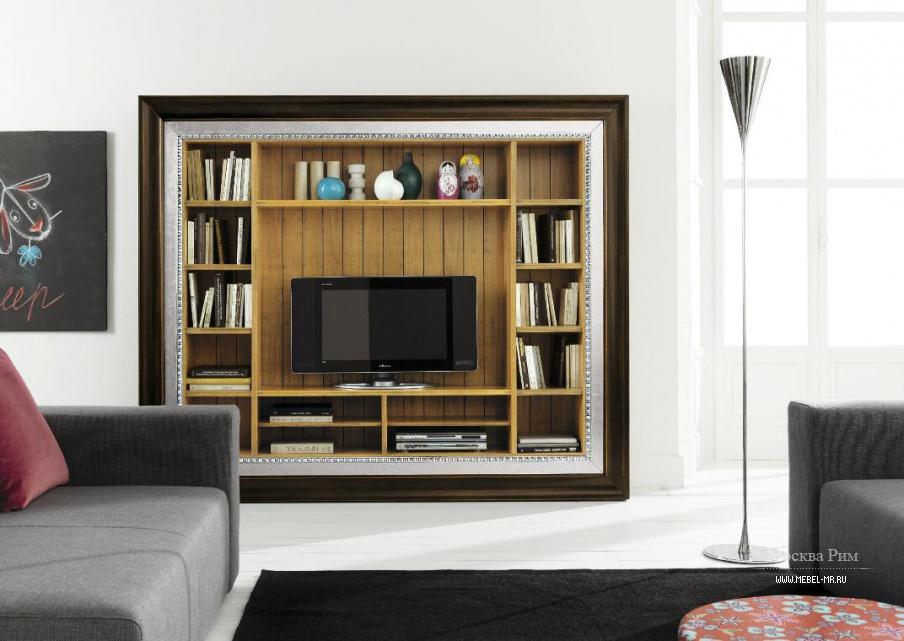 Модульная стенка для тв с полками для книг, flai - мебель мр.