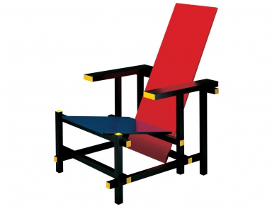 Кресло из дерева 635 RED AND BLUE, Cassina