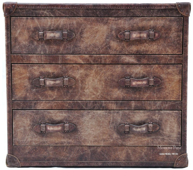 Комод на металлическом каркасе, Howard Chest Of Drawers Steel Vintage Leather - Andrew Martin