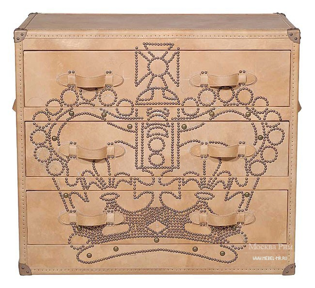 Металлический комод, Howard Crown Studded Parchment Chest of Drawers - Andrew Martin