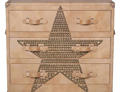 Комод с кожаными ручками, Howard Star Studded Parchment Chest of Drawers - Andrew Martin