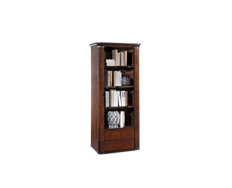 Книжный шкаф с выдвижными ящиками и металлической фурнитурой.
