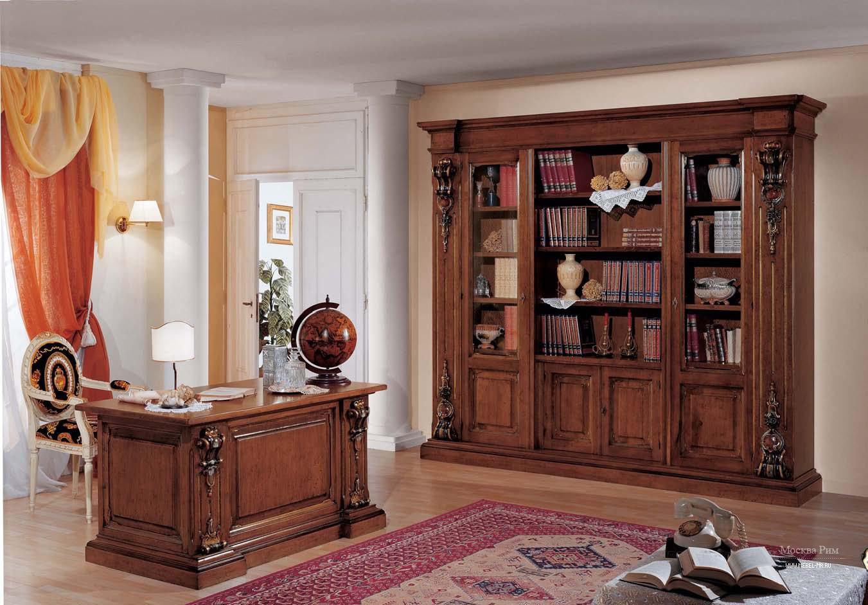 Гарнитур для кабинета в шпоне с резьбой ручной работы orchid.