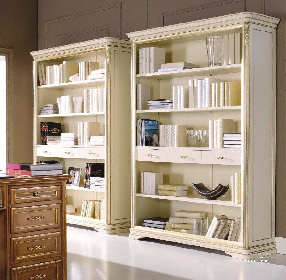 Книжный стеллаж с выдвижными ящиками в классическом стиле, m.