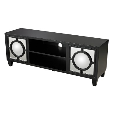 Шкаф Mirage Black Media Console With Convex Mirror By