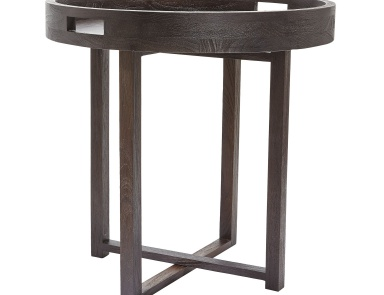 Стол Large Round Black Teak Side Table Tray Dimond Home