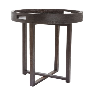 Стол Large Round Black Teak Side Table Tray