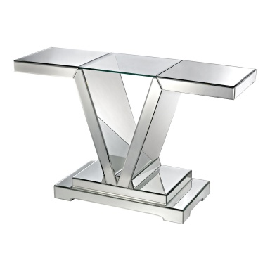 Стол Mirrored Console Table With Clear Glass Top