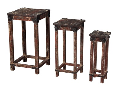 Стол Set Of 3 Distressed Finish Stacking Tables Sterling