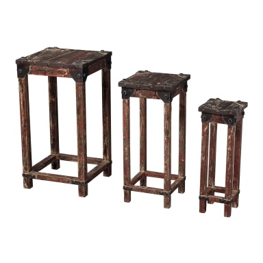 Стол Set Of 3 Distressed Finish Stacking Tables