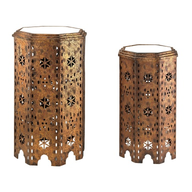 Стол Set Of 2 Moroccan Side Table With Mirrored Tops