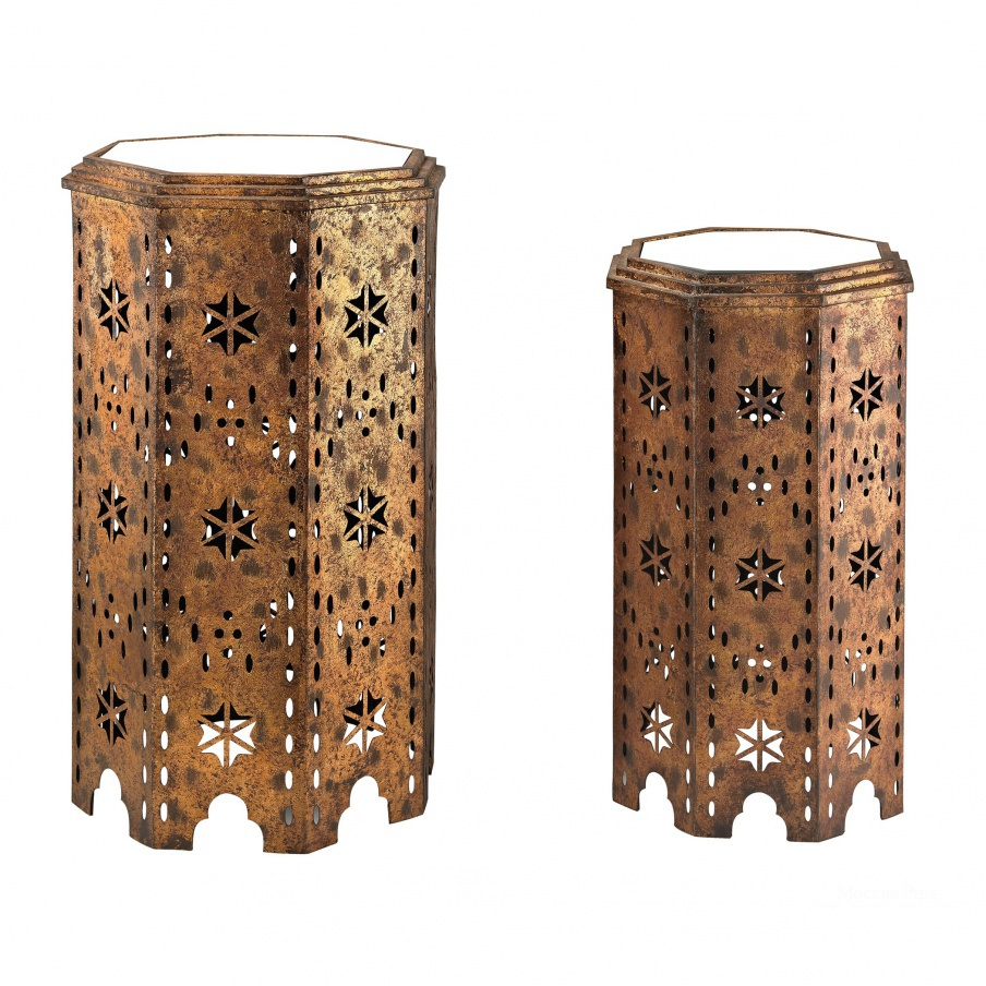 Стол Set Of 2 Moroccan Side Table With Mirrored Tops Dimond Home