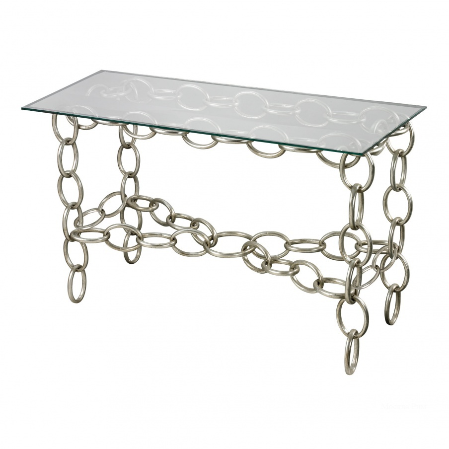 Стол Silver Chain Console Table With Clear Glass Top Dimond Home