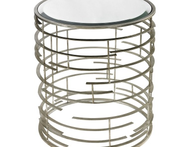 Стол Contemporary Sculptural Metal Work Side Table With Clear Glass Top Dimond Home