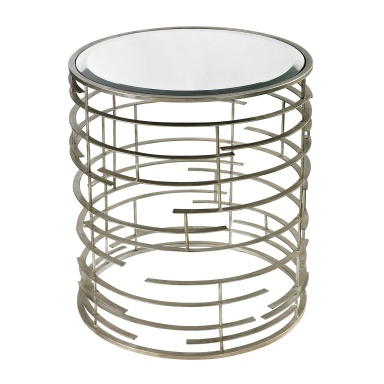 Стол Contemporary Sculptural Metal Work Side Table With Clear Glass Top