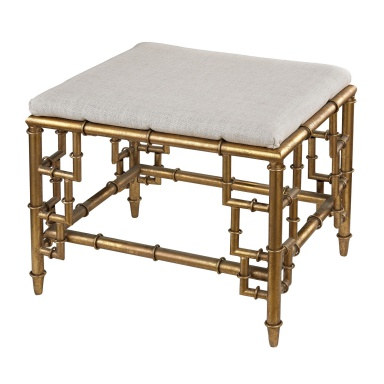 Табурет Stool With Bamboo Frame In Gold Leaf And Linen Seat