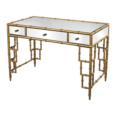 Стол письменный Mirror Top Desk With Bamboo Frame In Gold Leaf