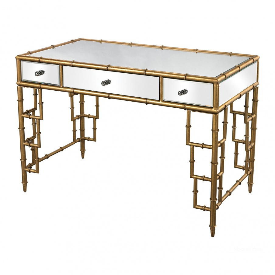 Стол письменный Mirror Top Desk With Bamboo Frame In Gold Leaf Dimond Home