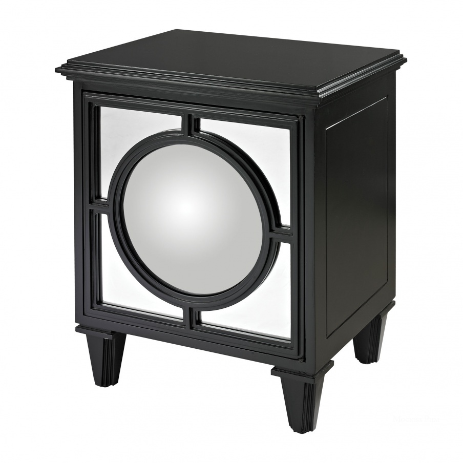 Шкаф Mirage Gloss Black Cabinet With Convex Mirror By Dimond Home