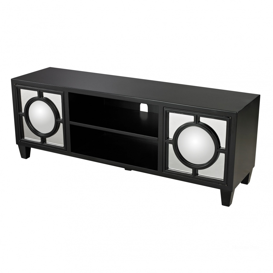 Шкаф Mirage Black Media Console With Convex Mirror By Dimond Home