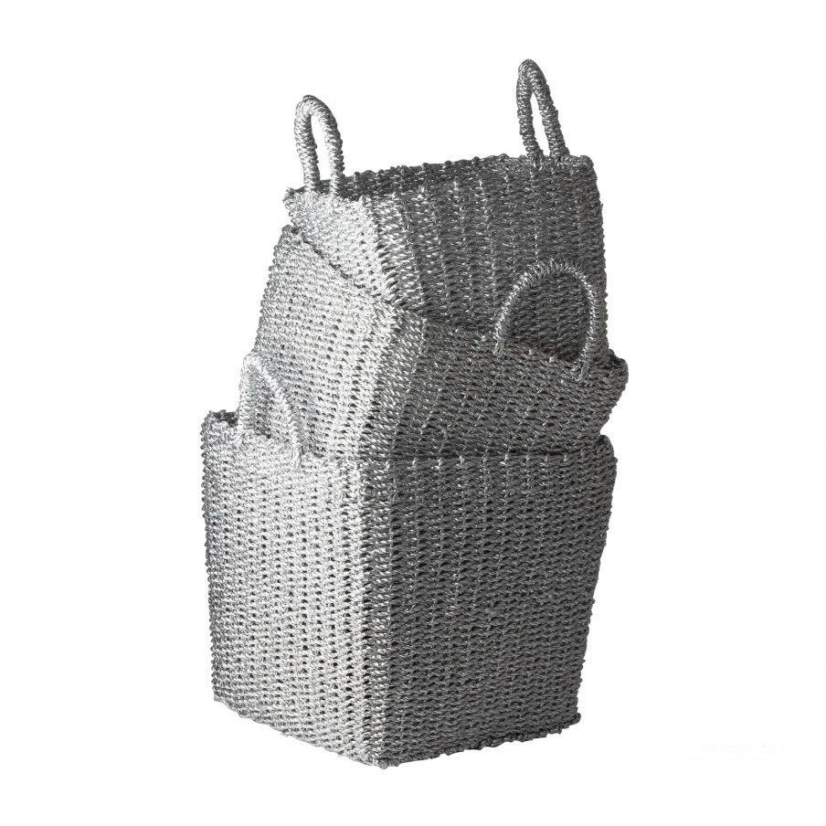 Коробочка для хранения Nested Recycled Twisted Silver Foil Baskets- Set Of 3 Dimond Home