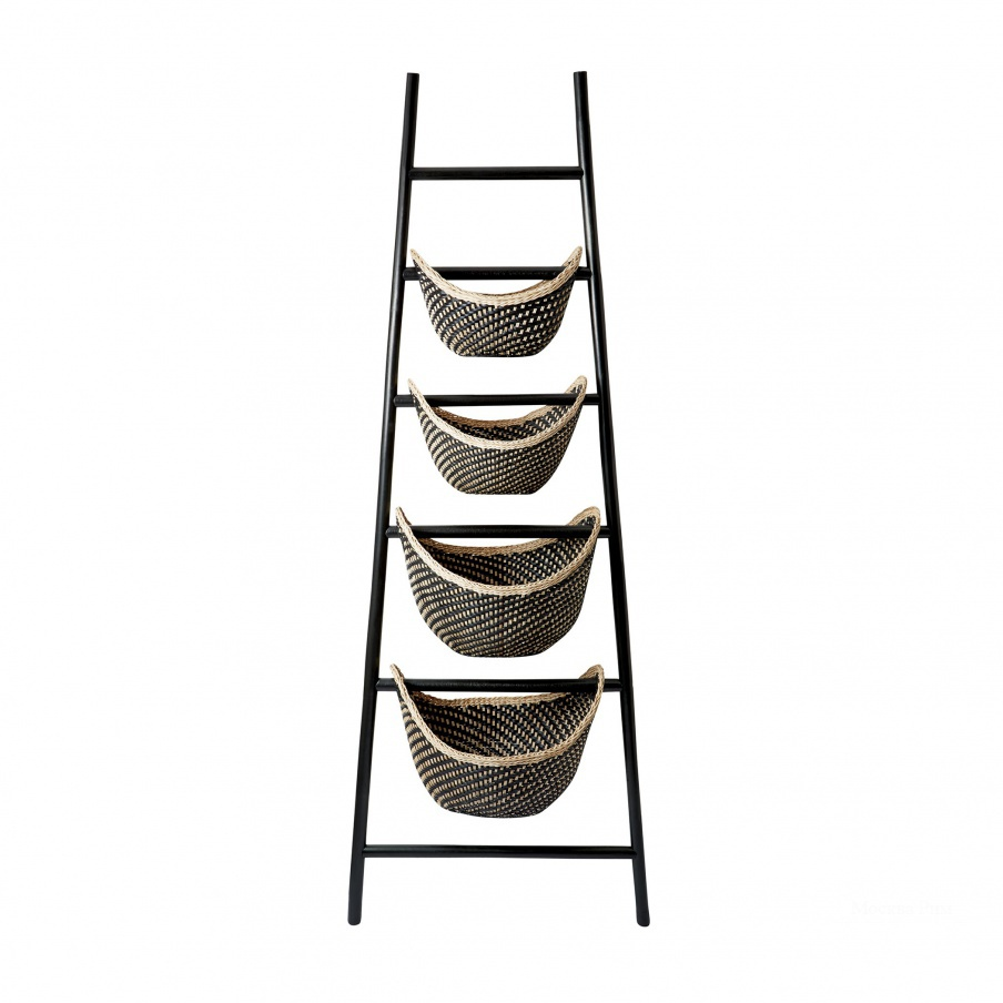 Корзина Black Plaid Ladder Basket Dimond Home