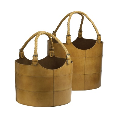 Корзина Nested Caramel Leather Buckets-Set Of 2