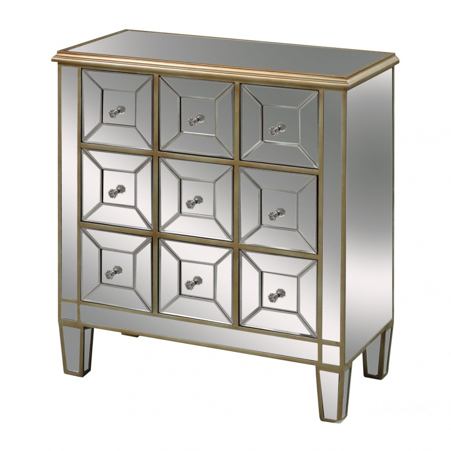 Комод Roma Chest In Clear Mirror And Champagne Silver Leaf Dimond Home