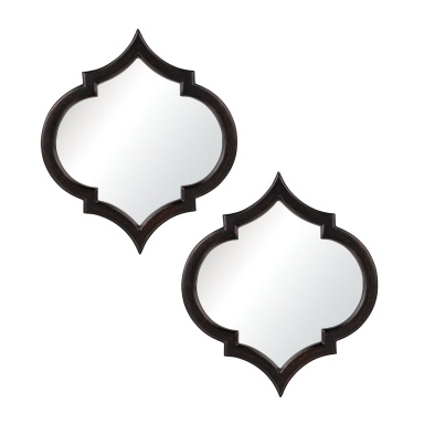 Зеркало Horizonte Mirrors In Black With Hand Rubbed Silver Edging - Set of 2