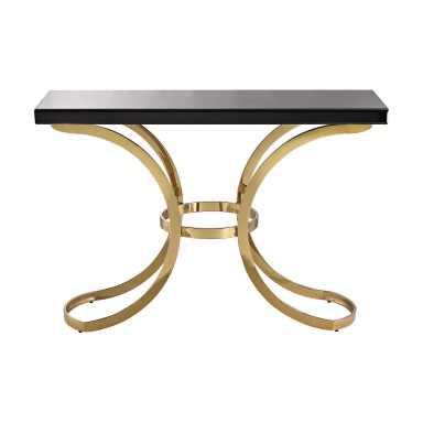 Стол Beacon Towers Console Table In Gold Plate And Black Glass