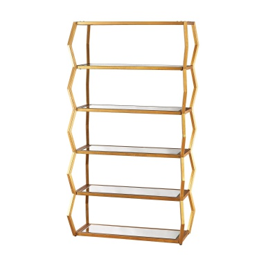 Стеллаж Anjelica Bookshelf In Gold Leaf And Clear Mirror
