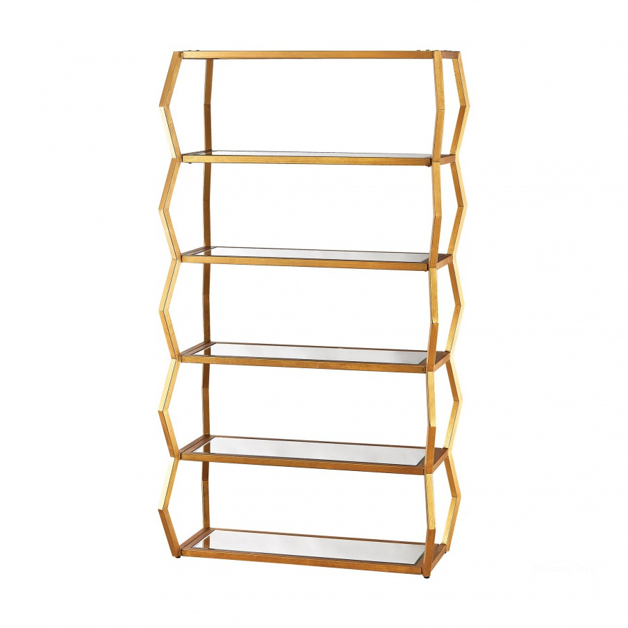 Стеллаж Anjelica Bookshelf In Gold Leaf And Clear Mirror Dimond Home