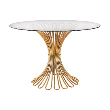 Стол Flaired Rope Entry Table In Gold Leaf And Clear Glass