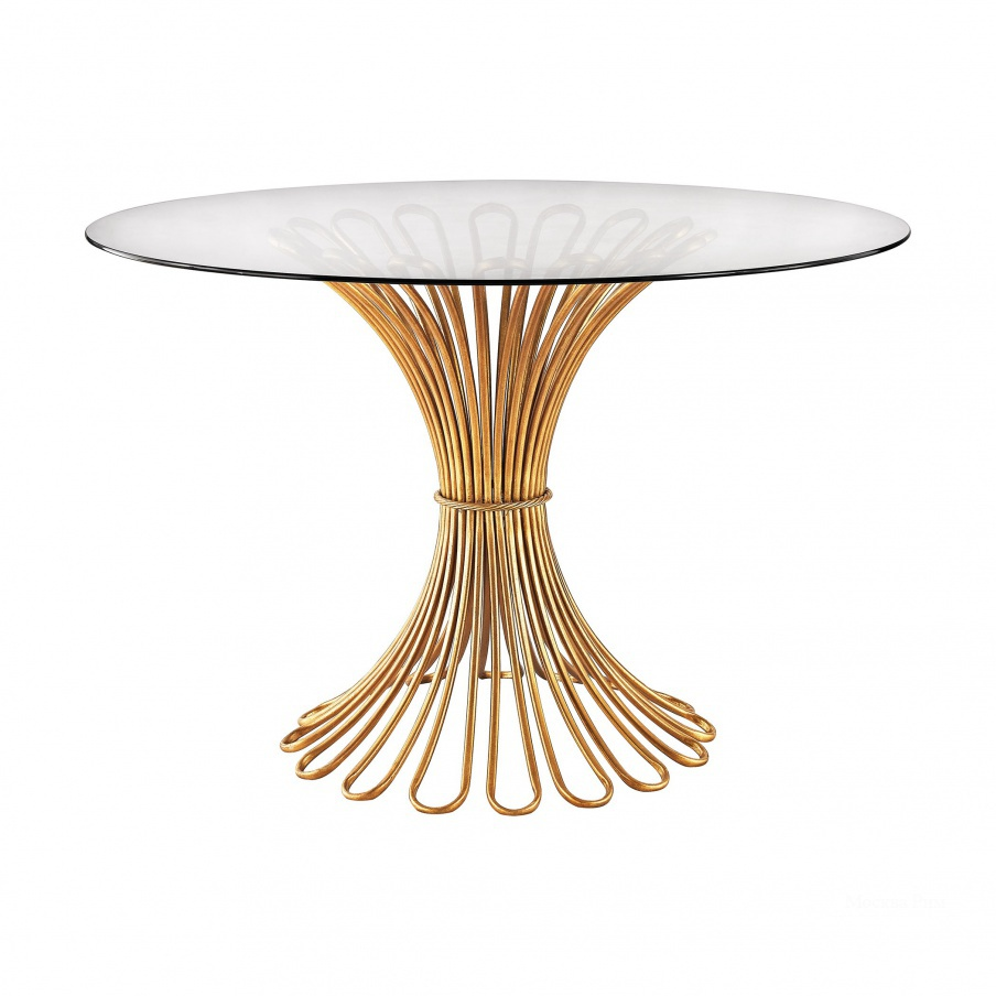 Стол Flaired Rope Entry Table In Gold Leaf And Clear Glass Dimond Home