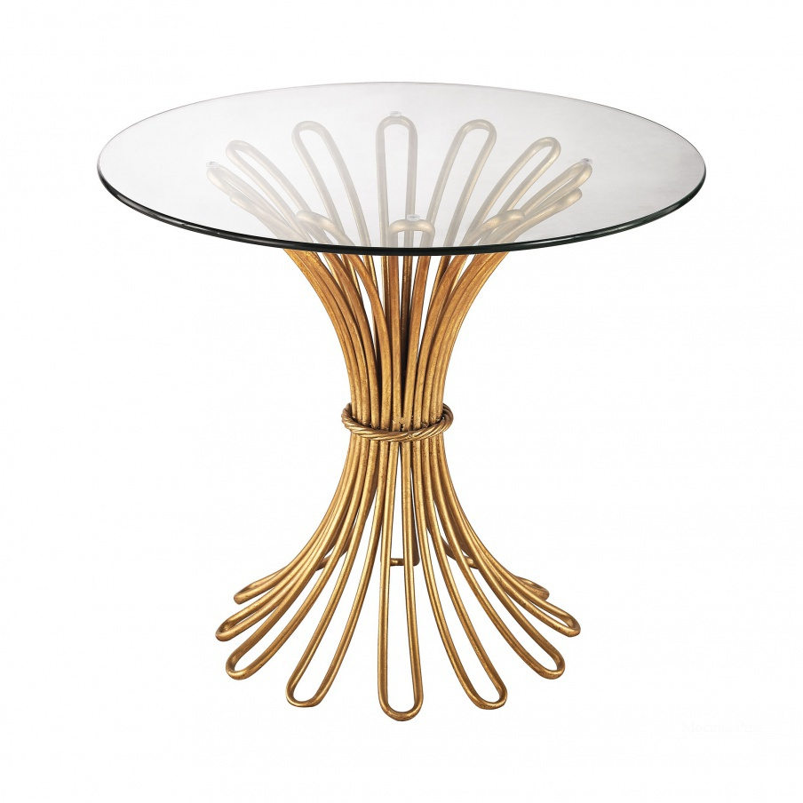 Стол Flaired Rope Side Table In Gold Leaf And Clear Glass Dimond Home
