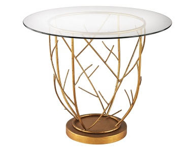 Стол Thicket Entry Table In Gold Leaf And Clear Glass Dimond Home