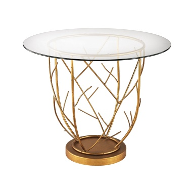 Стол Thicket Entry Table In Gold Leaf And Clear Glass