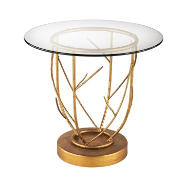 Стол Thicket Side Table In Gold Leaf And Clear Glass