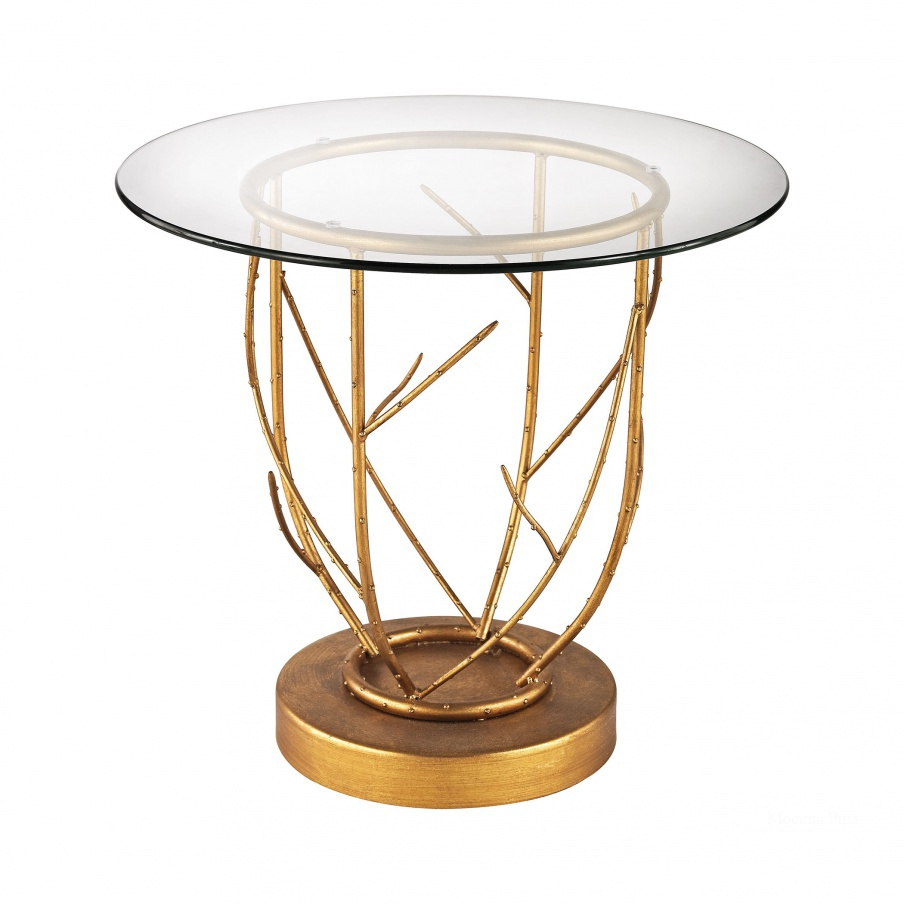 Стол Thicket Side Table In Gold Leaf And Clear Glass Dimond Home
