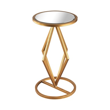 Стол Vanguard Side Table In Gold Leaf And Clear Mirror