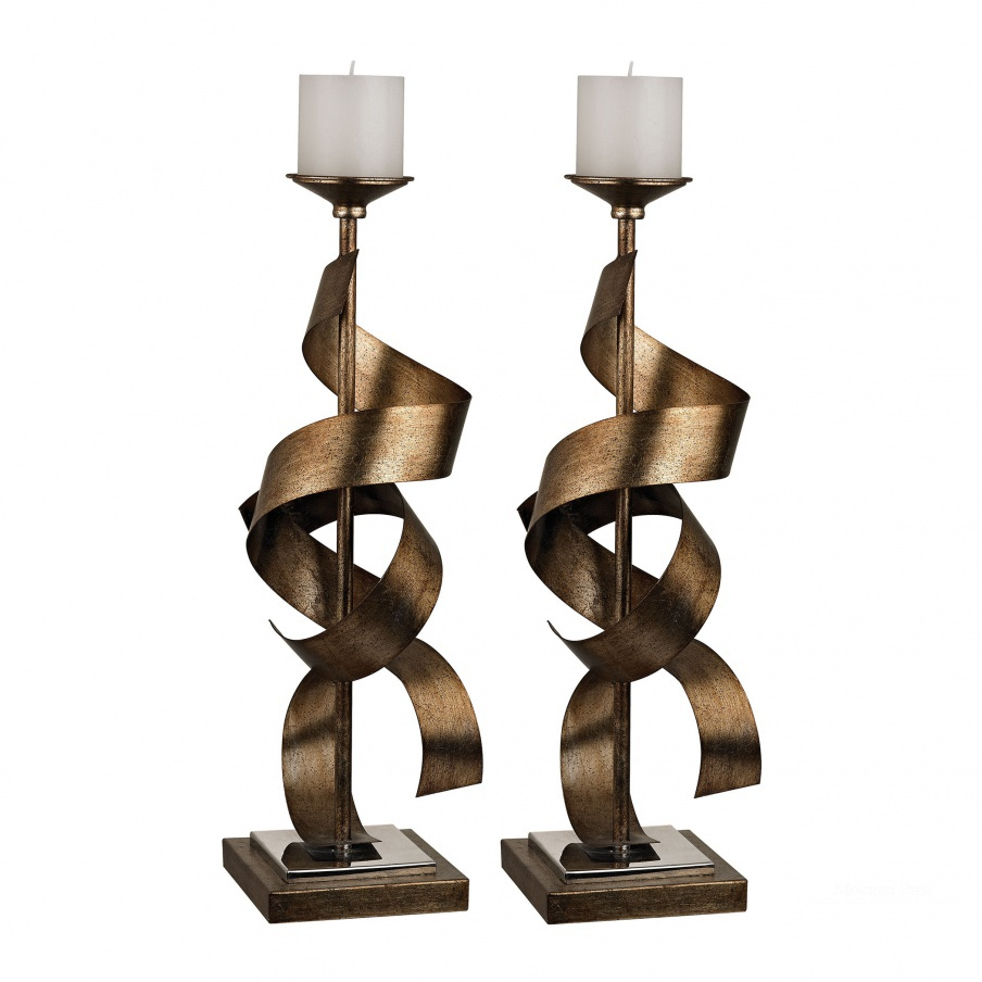 Подсвечник Set Of 2 Metal Sculpture Candle Holders Dimond Home