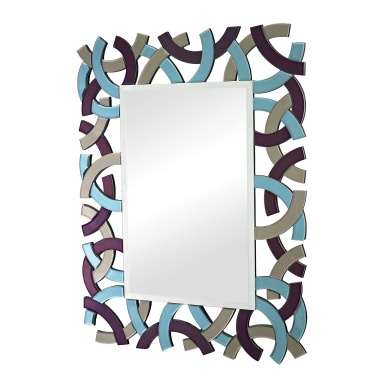 Настенное Confetti Colored Glass Framed Beveled Mirror