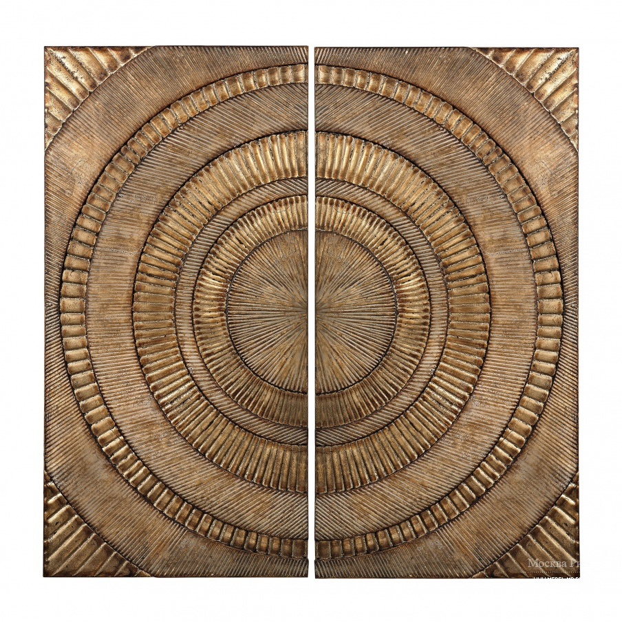 Настенный декор Set Of 2 Abstract Metal Wall Panels Dimond Home