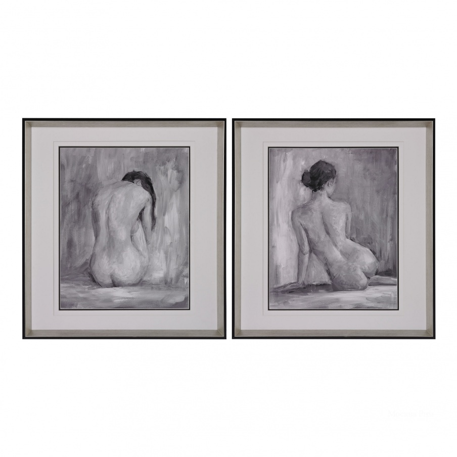 Картина Figure In Black And White I And Ii - Fine Art Print Under Glass Dimond Home
