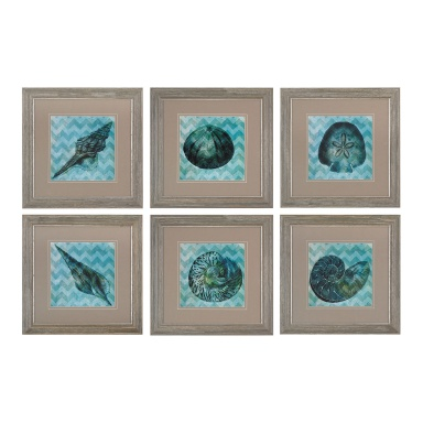 Картина Chevron Shell I, II, III, IV,V,VI -Print Under Glass Wall Art